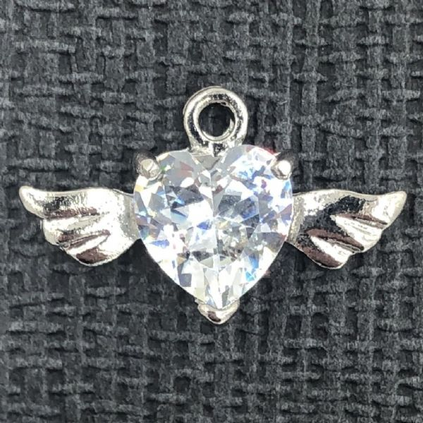 Double angel wing heart crystal charm - rhodium - 12mm x 20mm